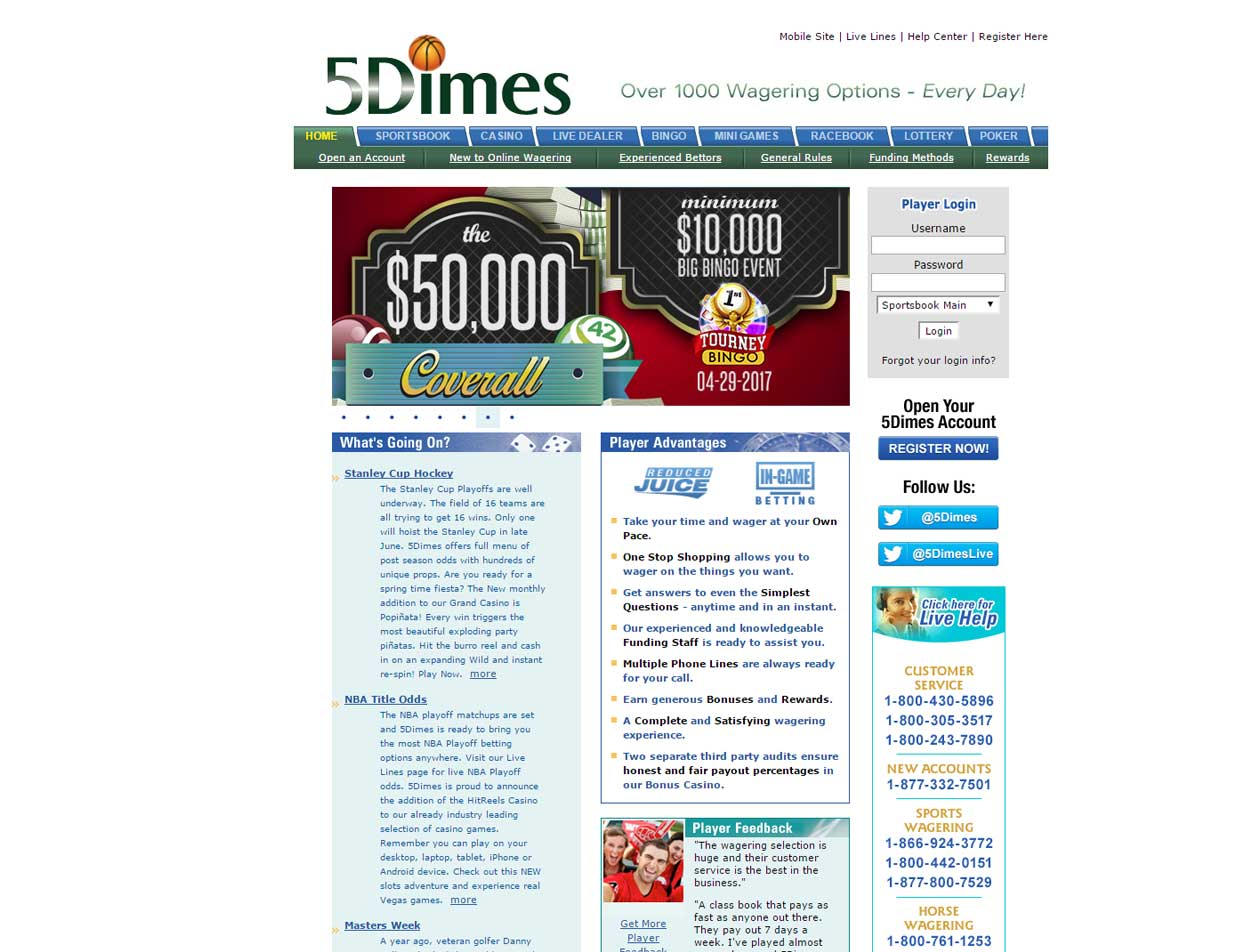 5Dimes Offers 50% Reward Bonus Up to $125 to New Players
