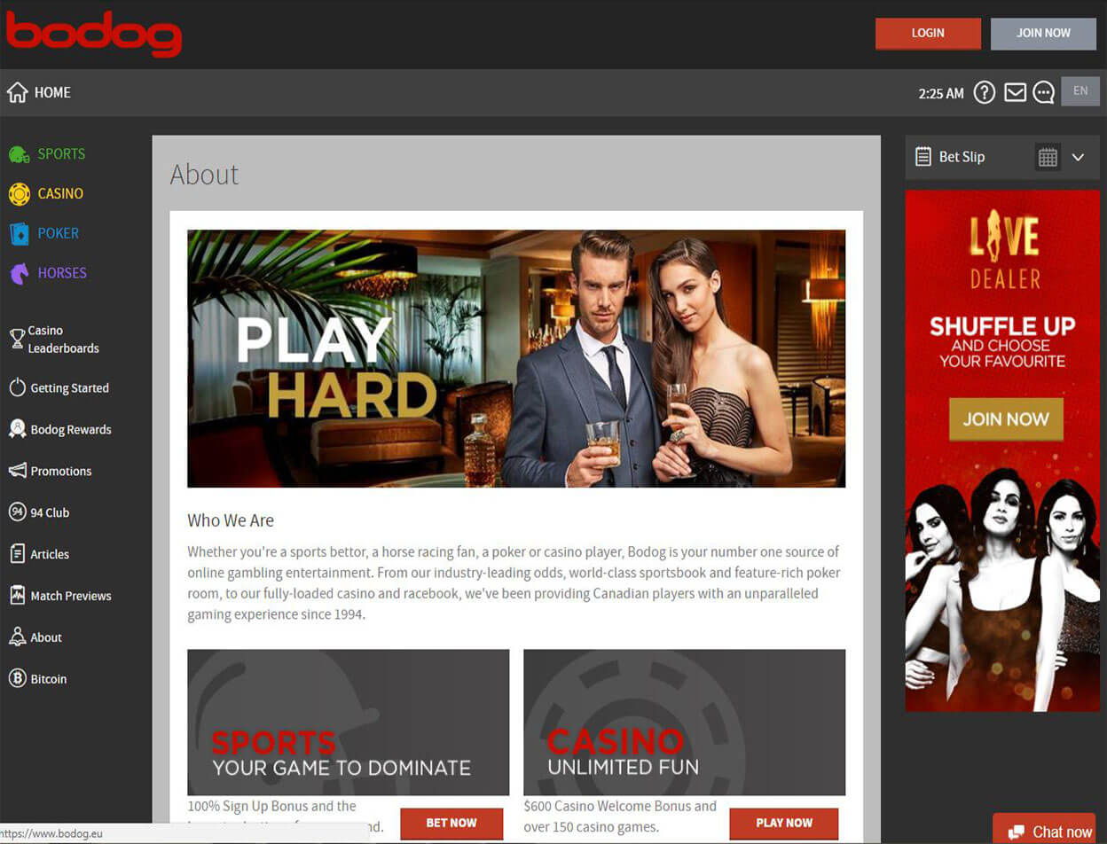 Bodog Casino Screenshot 1