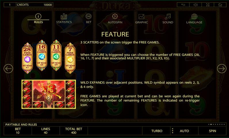 Durga Slot features
