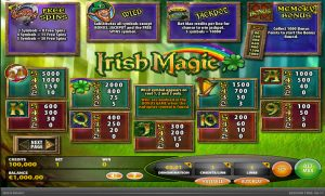 Irish Magic Slot Paytable