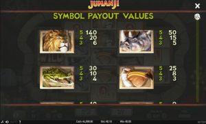 Jumanji payout values