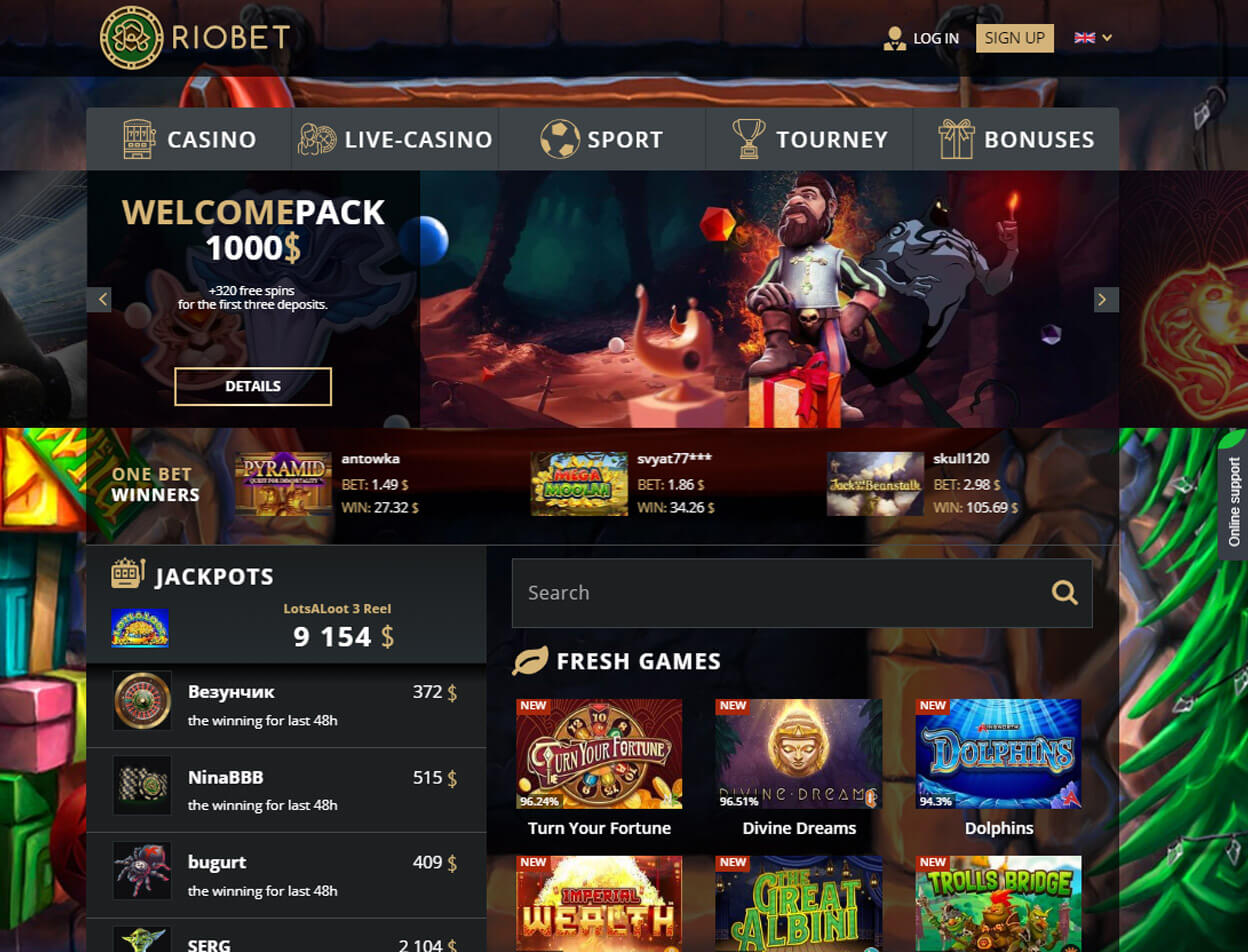 Riobet Casino Screenshot 1