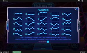 Wild Beats Slot Paylines