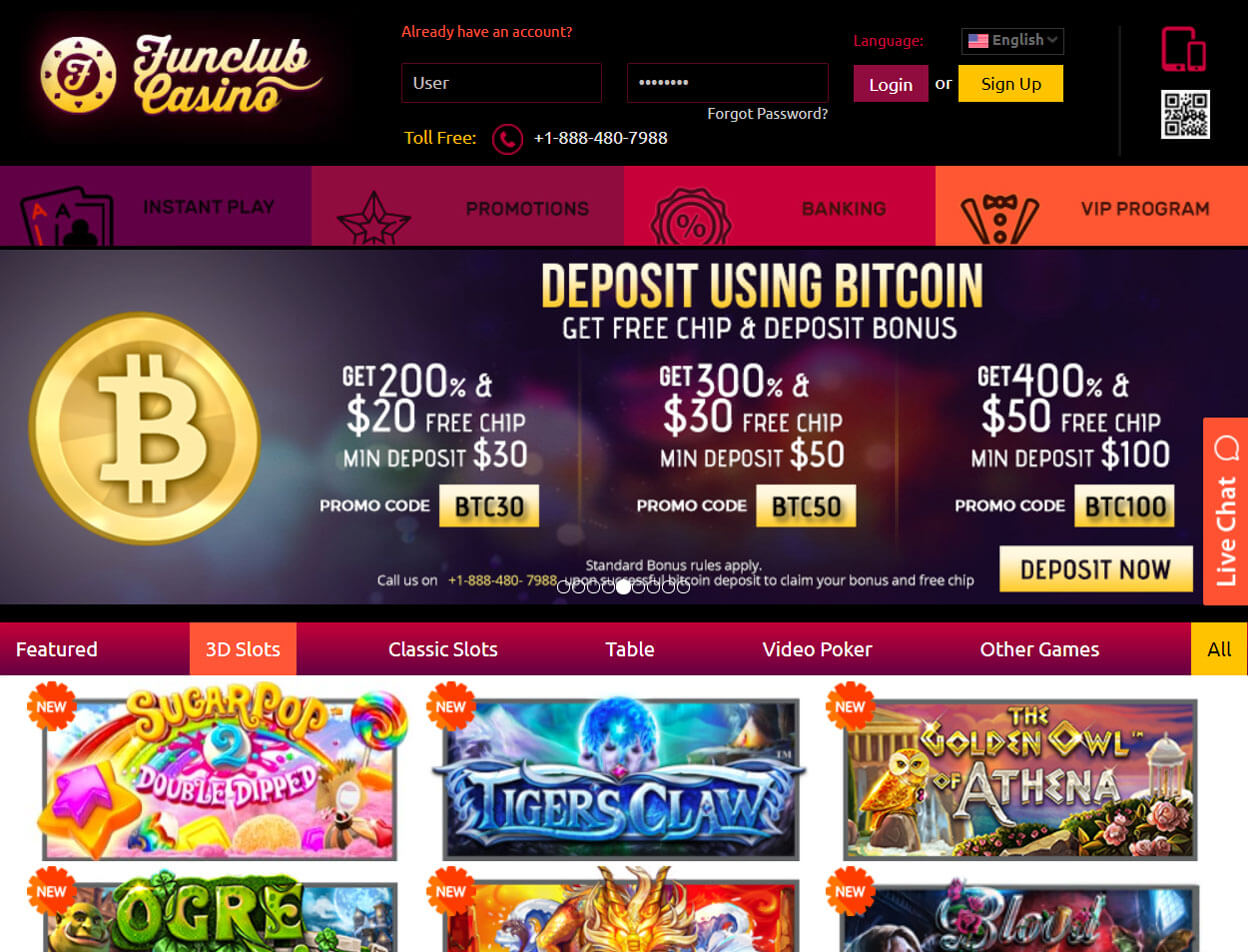 Funclub Casino Screenshot 1