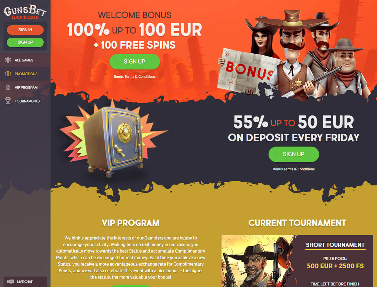 Gunsbet Casino Screenshot 2