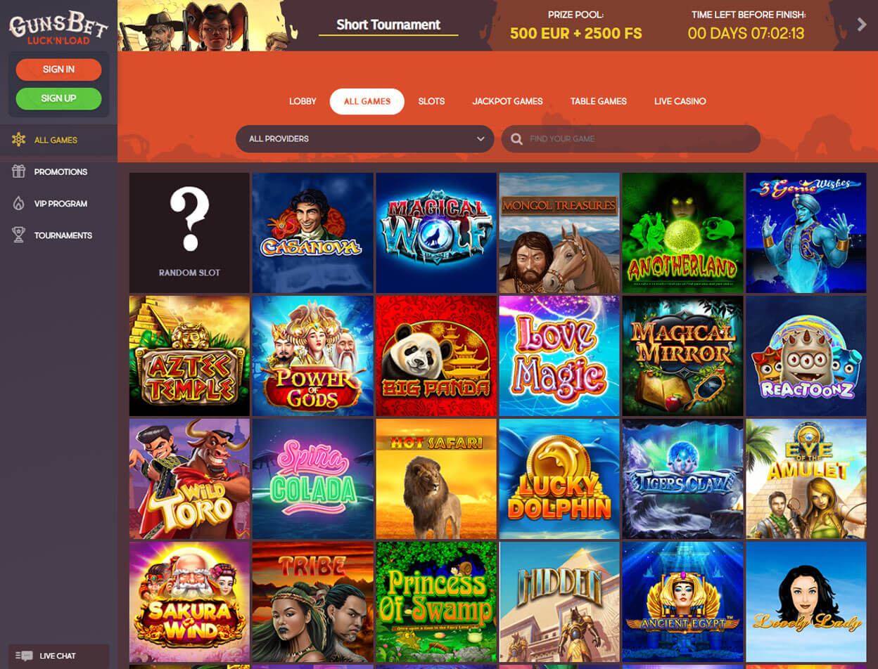Gunsbet Casino Screenshot 3
