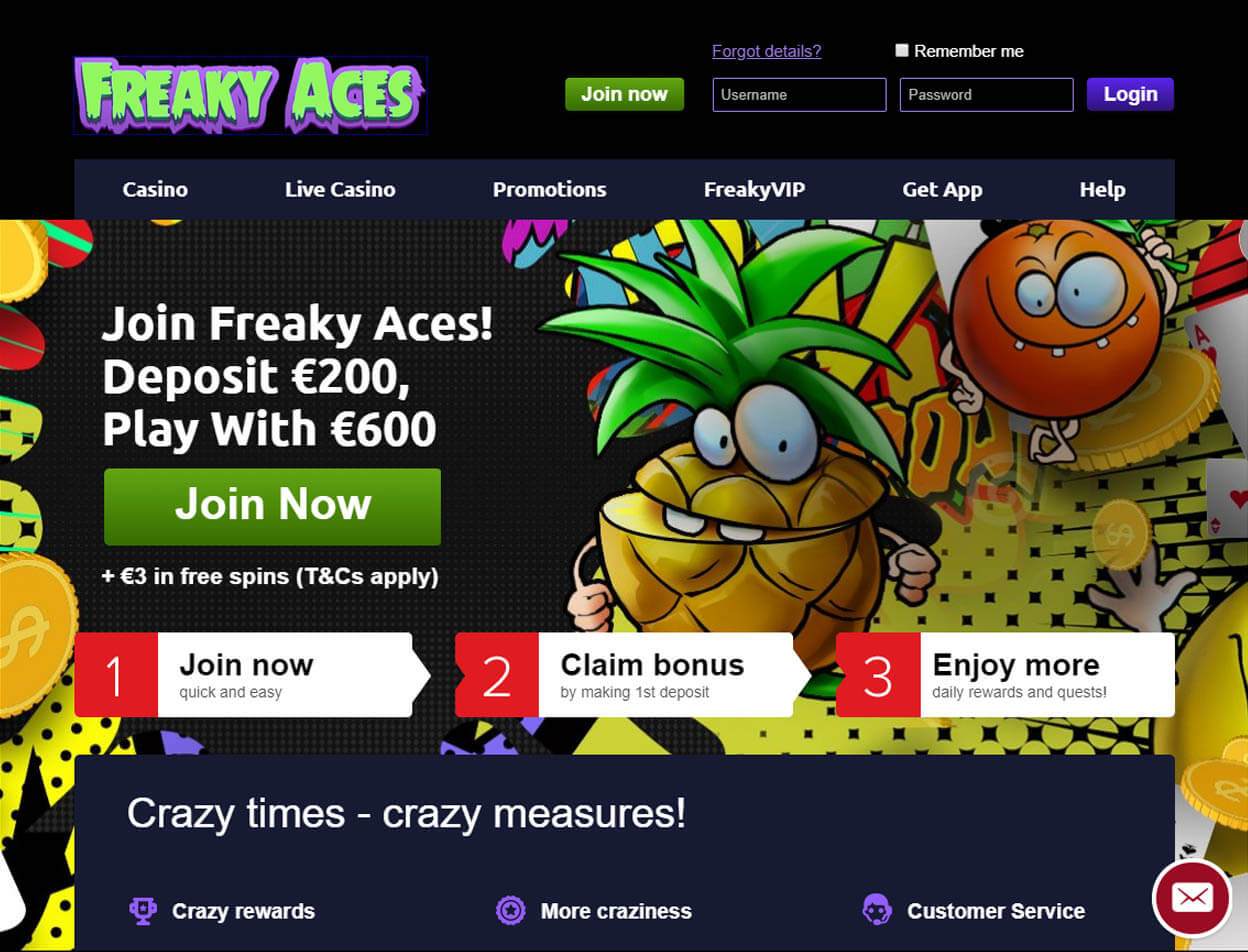 Freaky Aces Casino Screenshot 1